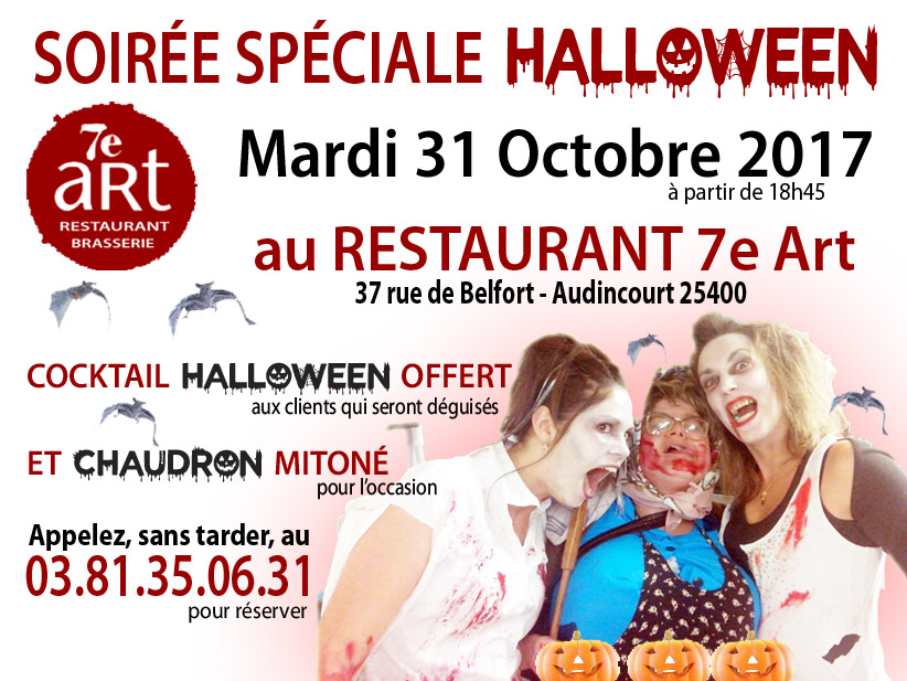 Halloween au Restaurant du 7ème Art le 31 Octobre 2017
