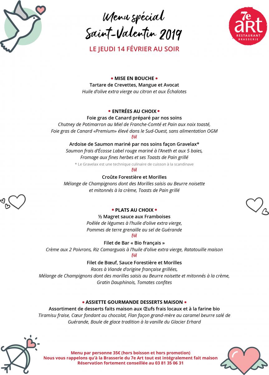 Menu spécial Saint Valentin 2019 au 7e Art